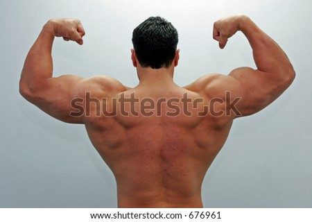 Back view of a body builder
