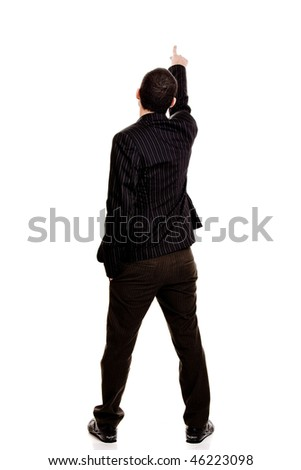 Back view of a businessman pointing, isolated on white background