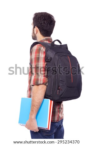 Back view of a male student, isolated on white background
