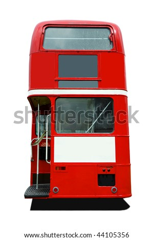Back view of a red old style London Bus