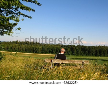 Back view of a retired man sitting on a bench reading