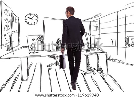 back view of a walking business man holding a briefcase and looking to his side on an office-like sketched background