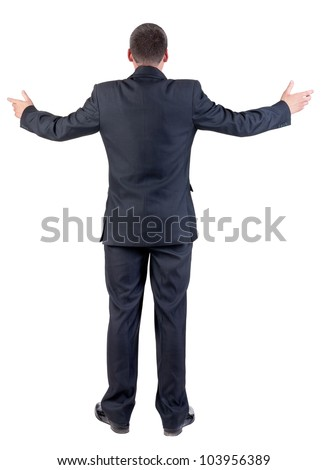 Back view of adult  business man . businessman in black suit. Rear view people collection.  backside view of person.  Isolated over white background.