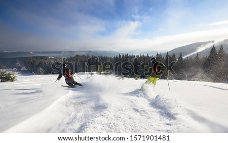Back view of aggressive male skiers making deep snow powder while skiing and carving fast down on wide open wooded hillside. Amazing winter mountains and forest under blue sky, panoramic view. #1571901481