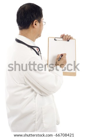 Back view of an Asian doctor writing something on a blank paper of a clipboard - copyspace, write your message