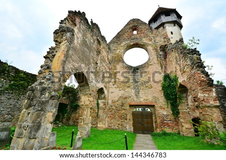 Back view of an old monastery of Gothic architecture in the heart of Transylvania./Back of a Gothic monastery in the heart of Transylvania./Back of a Gothic monastery from Transylvania.