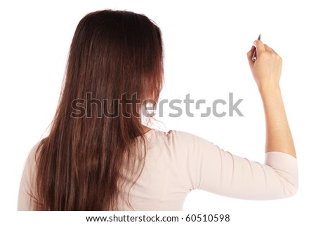 Back view of attractive young woman holding a pen. Image with extra copy space. All isolated on white background.