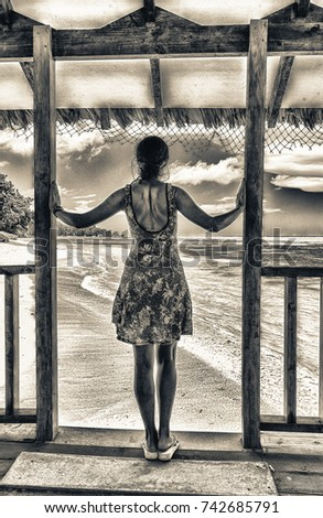 Back view of beautiful woman looking to ocean at Seychelles Islands.