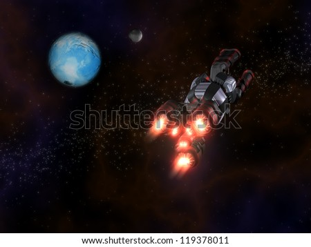Back view of Black and Red Space Ship in Action in Space with two planets