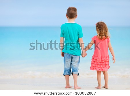 Back view of brother and sister at tropical beach