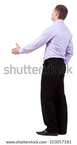 back view of Business man  hand shake.  Young guy in shirt watching.  Rear view people collection.  backside view of person.  Isolated over white background.