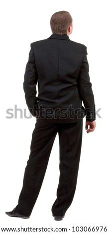 back view of business man in black suit  watching.   Businessman looks up  Isolated over white background. Rear view people collection. backside view of person.