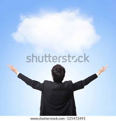 back view of business man showing and hug white cloud with blue sky background, concept for cloud computing or success business or eco issue, asian model