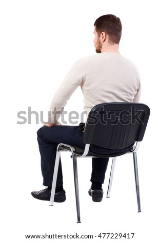 Royalty-free Back view of business man sitting on ...