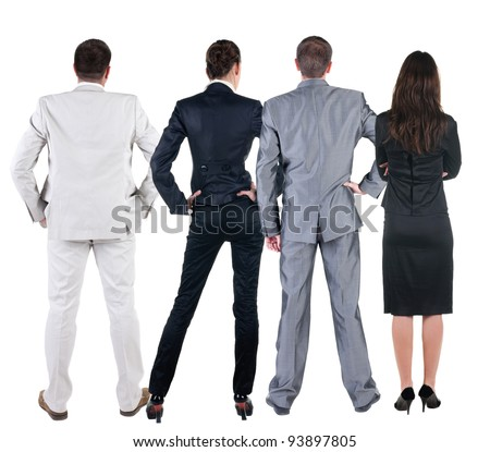 Back view of  business people looks at wall.  Teamwork of three business people looking at something. Rear view. Isolated over white .