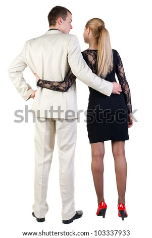 Back view of  business team look.  beautiful friendly girl in dress, guy in suit together. Rear view people collection.  backside view of person.  Isolated over white background.