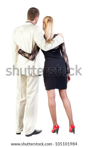 Back view of  business team look i. young couple (man and woman) rear view.  beautiful girl and guy together. Rear view people collection.  backside view of person.  Isolated over white background.