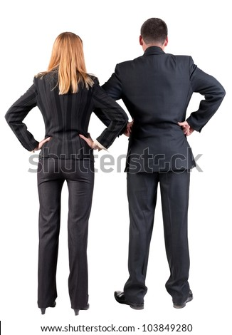 Back view of  business team looking. young couple (man and woman). beautiful girl and guy in suit together. Rear view people collection. backside view of person. Isolated over white background