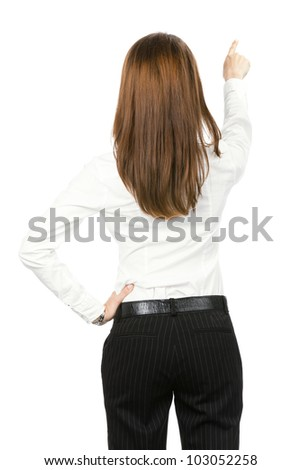 Back view of business woman showing blank area for sign or copyspase, isolated over white background