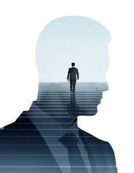 Back view of businessman climbing staircase and male head silhouette on light background. Success concept. Double exposure