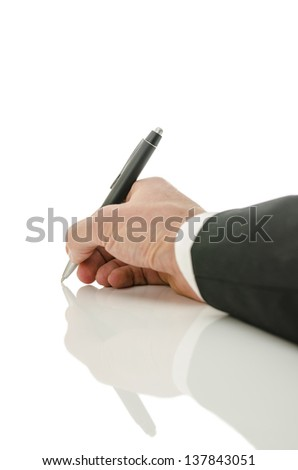 Back view of businessman hand writing isolated on white background. With copy space.