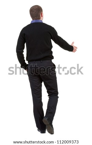 back view of Businessman  in black suit  handshake. Rear view people collection.  backside view of person. Isolated over white background.