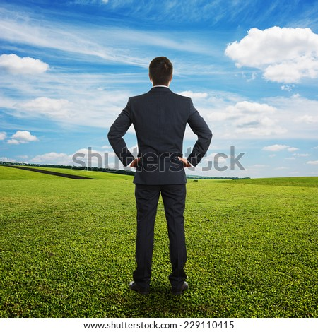 back view of businessman in formal wear looking into the distance at outdoor