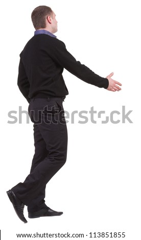 back view of businessman in  movement reaches out to shake hands. Rear view people collection. backside view of person. Isolated over white background.