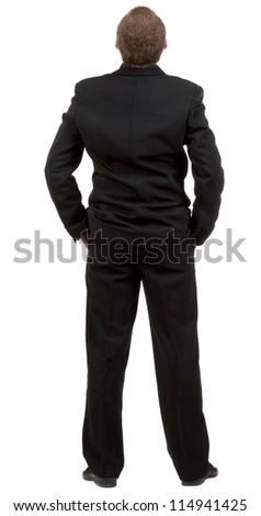 back view of Businessman watching. Young guy in black suit looks ahead.  Rear view people collection.  backside view of person.  Isolated over white background