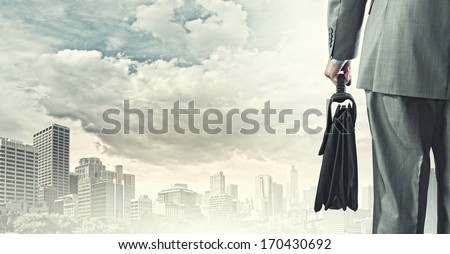Back view of businessman with suitcase looking at city