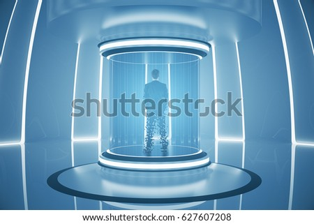 Back view of businessperson inside abstract teleportation sation. Future technologies concept. 3D Rendering & Shutterstock - PuzzlePix