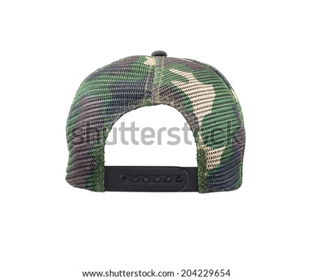 Back view of camouflage cap Isolated on a white background