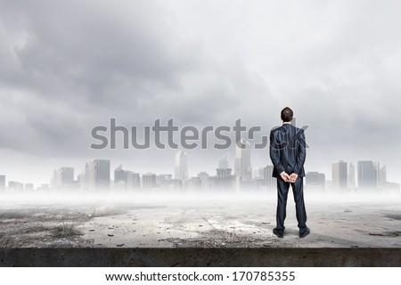 Back view of confident businessman looking at city
