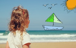 back view of cute girl imagine boat, birds and sun with set of infographics over beach and sea background