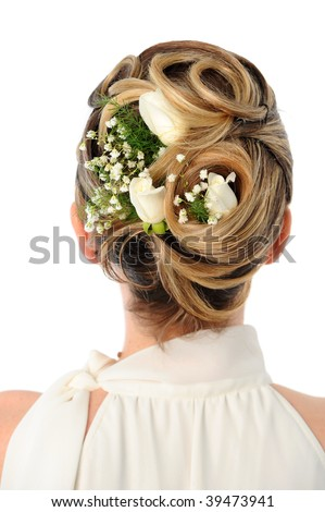 stock photo Back view of elegant wedding hairstyle with roses