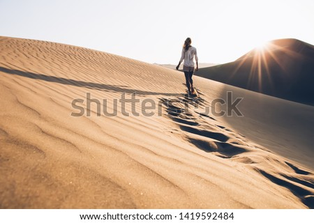Back view of female wanderer exploring wild Sahara desert during summer evening with sunrise time in nature environment, woman tourist walking in sands wilderness discovering breathtaking Safari