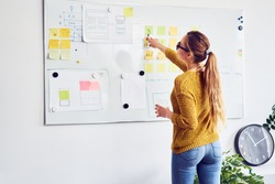 Back view of female web designer working on whiteboard in office