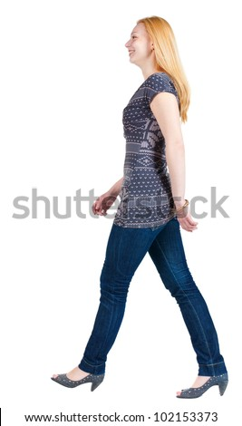 back view of going blonde  girl. walking beautiful woman in motion.  side view of person. Isolated over white background.