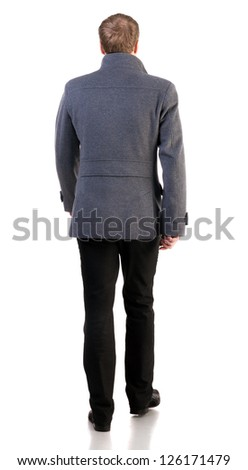 Back view of going  stylishly dressed business man in  gray coat.  walking businessman. Rear view people collection.  backside view of person.  Isolated over white background.