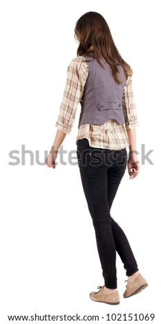 back view of going woman . gir. in motion. during a walk. Rear view people. Isolated over white background. - stock photo