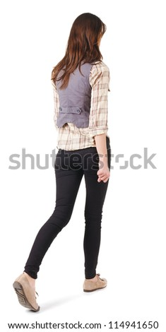 back view of going woman . gir. in motion. Rear view people collection.  backside view of person. Isolated over white background. - stock photo