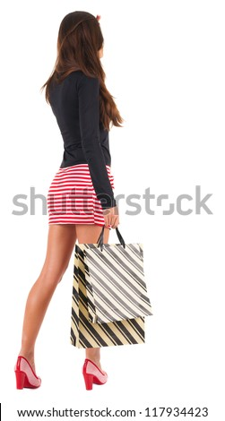back view of going  woman  in  dress woman with shopping bags . beautiful brunette girl in motion.  backside view of person.  Rear view people collection. Isolated over white background.