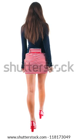 back view of going  woman  in red dress. beautiful brunette girl in motion.  backside view of person.  Rear view people collection. Isolated over white background.