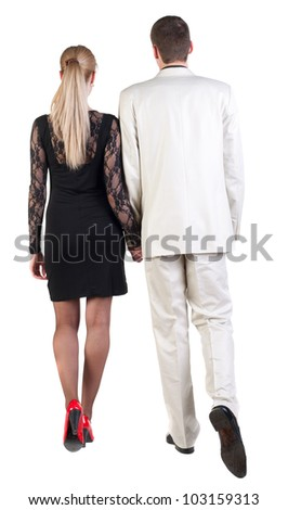 Back view of going young business couple (man and woman). walking beautiful friendly girl in dress,  guy in suit. Rear view people collection.  backside view of person.  Isolated over white background
