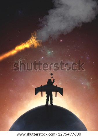 Back view of little prince with jet pack wings holding rose and standing on the moon, Mysterious and imaginative world of fairytale stories