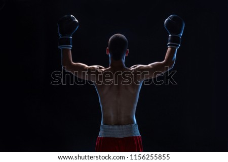 Back view of man boxer with raised hands in victory gesture. Concept of hard sport, glory and success.