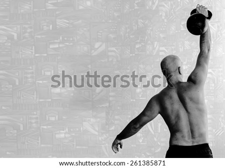 Back view of man doing workout with kettlebell background. Black-and-white, horizontal