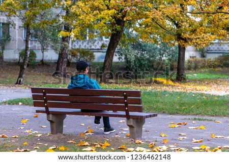 Back view of man on a bench, lonely man in a park.