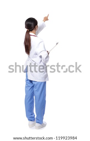 back view of medical doctor woman finger point to empty copy space in full length, concept of advertisement product, Isolated over white background, asian model