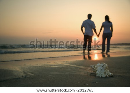 stock photo : Back view of mid-adult couple holding hands walking on beach